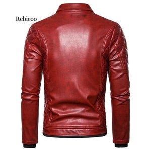 Rebicoo Punk кожаные куртки Мужские Толстые Rivet Дизайн мотоцикла Байкер кожаные куртки Мужской меховой воротник ветрозащитный пальто