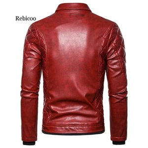 Rebicoo Punk Leather Jacket Men Thick Rivet Design Motorcycle Biker Leather Jacket Male Fur Collar Windproof Coat