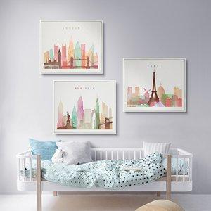 Modern Cute Animal Print Poster NYK Paris London Picture Canvas Painting Kids Room Nordic Home Decor No Frame Canvas Painting