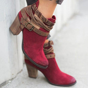 2020 Autumn Winter Women Boots Fashion Casual Ladies shoes Martin boots Suede Leather Buckle High heeled zipper Snow boot8