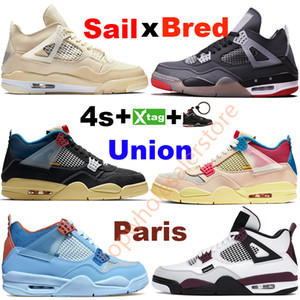 Voile blanche sautée sautée 4 mens hommes de basketball chaussures Union Noir Guava-Ice Blue Paris Pine Green Néon Cool Gery Gery Metallic Purple Running Sneaker