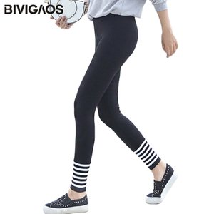 BIVIGAOS Fall New Womens Casual Elastic Knit Cotton Cashmere Leggings Black White Thread Ankle Slim Legging Pencil Pants Women 0927
