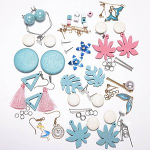 Set blue Leaf shape Fashion drop xylon Earrings DIY Jewelry Making package Long Drop Fringe Earring Findings Handcraft Supplies L3Ul#