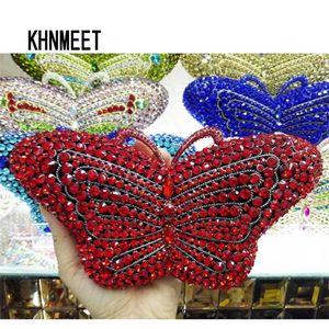 Newest Crystal Evening Designer Butterfly Shape Prom Handbags Animal Diamond Clutch Purse Party Bag sc457-A Q1113