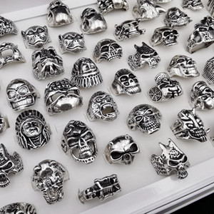 Hot Sale Wholesale 20pcs lot Gothic Skull Ring Punk Vintage Skeleton Rings For Women Men Mixed Style Rock Rings Jewelry 001