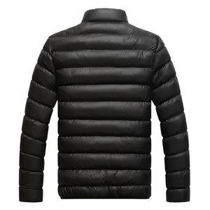 Wholesale- Winter Warm Down Coat Men Long Sleeve Stand Collar Soft Warm Jacket Casual Zipper Windproof Parka Men Solid Color Overcoat Tops