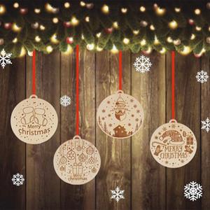 Weihnachten hölzerne hängende Weihnachtsbaum-Anhänger aus Holz Radium Schießen aus Holz geschnitzte Tag Weihnachtsdekoration T500442