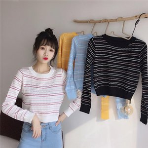 Trendy Sexy Stripe Contrast Color Fashion Personality Navel Long Sleeve Sweater Multicolor One Size Drop Shipping