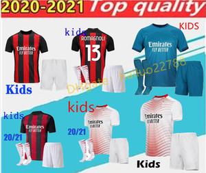 2020 2021 kids kit 2021 AC Milan soccer jersey 2020 21 IBRAHIMOVIC PAQUETA BENNACER REBIC Kids kit maglia da calcio CALHANOGLU football shi