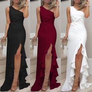 Um ombro ruched ruffle mulheres vestido formal noite festa magro elegante vintage maxi vestidos roupé longue # 3s