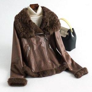 100% Abrigo natural Femenino Invierno Real Liner Chaqueta Mujer Vintage Vintage Abrigos Double Abrigos Tops de piel coreanos HIVE 9811291
