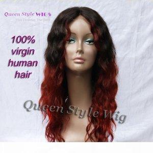 Chic Два тона Цвета Парик Сырой черный Оммре Бургундские Красные Вьющиеся волосы Кружева Фронтальные Парики Для Черной Женщина 100% Индийские Девы Человеческие Волосы