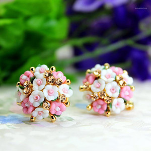 hot selling brand jewery luxury crystal double imitation stud earrings for women Ceramic flowers earrings for summer style1