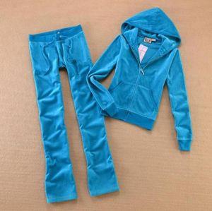 Tela de terciopelo de la primavera / otoño de las mujeres Trajes de terciopelo Traje de las mujeres Traje con capucha y pantalones Tamaño XS - XL