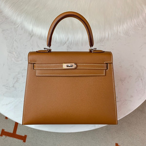wholesale half handmade Golden brown 25cm epsom leather design purse, wax thread, have both gold and silver hardware,contact me for details