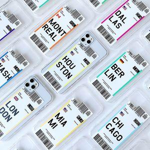 Ins Heißer Verkauf Boarding Pass Design Weiche TPU Telefon Fall für iPhone 12 6 7 8 x XR 11 Pro Max Leichte Gewicht Stoßfest