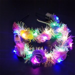 hot girl decorative flowers LED Light Floral Headbands Glowing Band for Wedding Hair Accessories Party favor T2C5052