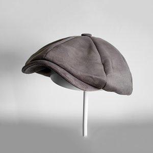 Grado superiore pelle scamosciata dello strillone Caps testa Mens Grey Oversized circonferenza piatto Caps donne inglesi Gatsby Cap Autunno Inverno Cappelli BLM114 201026