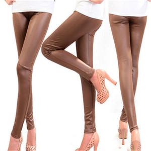VISNXGI Faux leggings en cuir pour les femmes Stripe Splicing Pantalon noir taille élastique Skinny Taille Plus Printemps Eté Automne Hiver