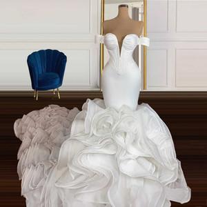 Роскошные свадьбы Rauffled Organza Русалка свадебные платья Четверты африканские труба свадебное платье с плеча V шеи Vestidos de Novia Свадебные платья