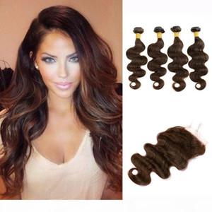 4 Bundles With Lace Closure Body Wave Hair Weave Bundles Dark Brown Raw Virgin Indian Brazilian Cambodian Human Hair Extensions
