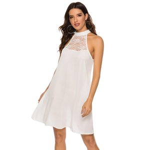 Summer Stand Collar Lace Patchwork Dress Sexy High Waist Solid Color Cropped Halter Sleeveless Chiffon Party Casual Slim Dress