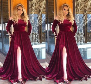Sexy Split Evening Dresses Velvet Off Shoulder Gold Appliques Prom Dress Long Sleeves A-line Arabic Prom Party Gowns