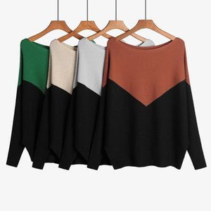 sweaters women designers clothes 2020 One-collar sweater bat shirt loose-fitting large-size women's pullover top stitching
