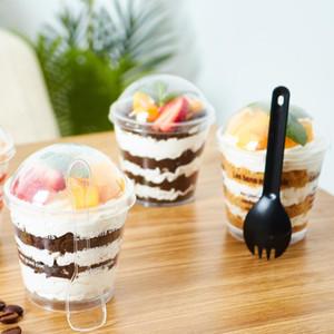 200ml Transparent Tiramisu Gelato Cup Coppa in plastica Mousse Cake Cup Coppa gelatina usa e gettata con coperchio Pudding Dessert Set Forniture per feste EWE2003