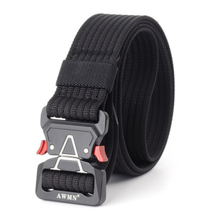 Fashion Men Tactical Belt Nylon Waist belt Heavy Duty Metal Buckle Adjustable Military Army men Belts outdoor Quick Release Jeans strap 08