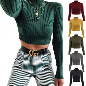 2020 Fashion Women Clothes Designer Half High Collar Solid Color Long Sleeve Knitted T shirt Ladies Casual Slim Navel Top