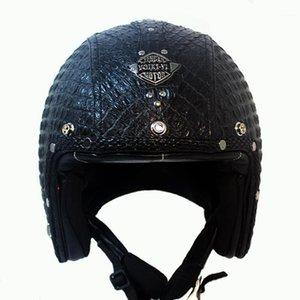 Açık Yüz Yarım Deri Kask Moto Motosiklet Kaskları Vintage Motosiklet Headguard Casque Casco kask için ücretsiz kargo1