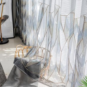 Nordic Luxury Grey Gold Geometric Tulle Curtain for Living Room Bedroom French Window Balcony Delicate Embroidered Voile ZH055T