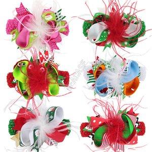 Baby Kids Girls Christmas Hair Bow clip e fascia 2 pezzi Set Feather Hairpin largo solido involucro elastico avvolto per capelli party headdress D102802