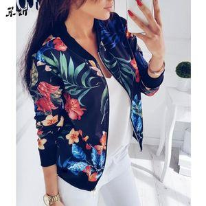 M-5XL Retro Floral Print Coat Women Zipper Up Bomber Jacket Plus Size Long Sleeve Coats Tops Spring Female Outwear 2020 Clothes