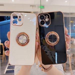 Luxusringhalteretui für iPhone 11 7 8 plus Vergoldung Metallstand Telefonabdeckung für iPhone 12 Pro max XS XR SE 2020 Silizium