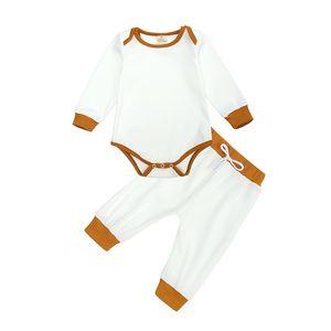 Cotton Kids Pajamas Sets Baby Solid Round Neck Striped Longsleeve Tops+Pants 2pcs Suit Children Sleepwear Korean Style Clothing123