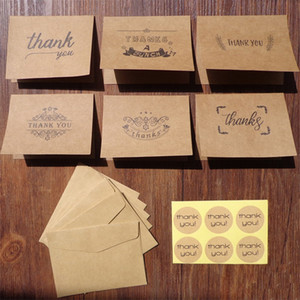 Retro Kraft Paper Greeting Cards Thank You Words Birthday Card Envelope Sticker Suit A Pack Of 18 pcs New Arrival 2jx J2