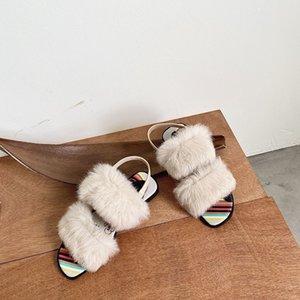 Sandals NEW Real rabbit hair Summer Open fingered refreshing Light texture women shoes flat sole Black Buckle Simplicity Slipper sandal