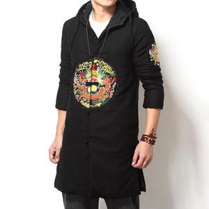 M-5XL Plus Size Men Drachen Embroried Winter-Trench Street Chinese Art Frosch-Knopf Fronthaube lange Graben-Jacken Herren XXXXXL