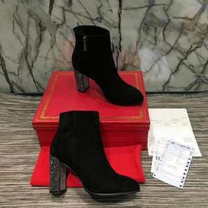 Comfortable Round toe Ankle Pure Color High Crystal Heel Zipper Boots Fashionable prom Women Shoes