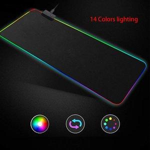 XL Super Grande RGB Gaming Mouse Pad 14 Cores LED Iluminação 1.8m Cabo USB Teclado Rato Mouse Esteira Bloqueado Borda 900 * 400 Anti-Slip LJ201031
