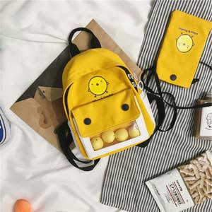 Рюкзак Женщины для школы College Girls Brand New Cute Cartoon Маленькие желтые мешки плеча Студенты Двухсекционный сумки Рюкзаки 201013