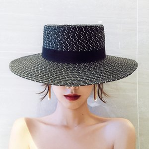 Hat Summer New Black and White Flat Straw Hat Womens Elegant Stylish Beach Hat Seaside Holiday Sun Protection