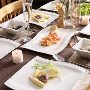 Dîner en porcelaine de 26 pièces de Malacasa Flora avec bols Dessert Soup soupe Plaques de dîner plaques rectangulaires Set de service pour 6 personnes C0121