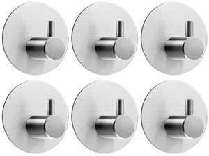 6 Pack of Self Adhesive Round Rail Tea Holders,Stainless Steel Door Hooks Hanger for Kitchen Bathrooms Lavatory Closets,Water and Rust Proof