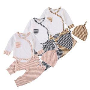 Mubineo 0-18M Новорожденный мальчик девочка с длинным рукавом хлопок Bodysuit Топы Полосатый Pant Hat 3PCS комплект одежды младенца