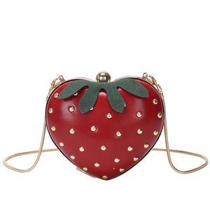 Hombro Crossbody de las mujeres bolso de la fruta del estilo del embrague del bebé lindo de la fresa en forma de la taleguilla del bolso monedero