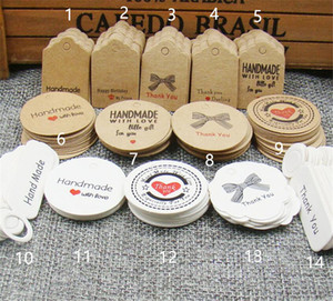 100pcs çok sevimli kahverengi beyaz kağıt hediye etiket etiketi el yapımı takı takılar etiketi yuvarlak düğün iyilik çerezler dekoratif etiket