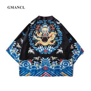 Gmancl Homens Dragão Chinês Cardigan Quimono Casacos Streetwear Verão Sunscreen Estilo Japonês Casaco Masculino Outerwear Y201026